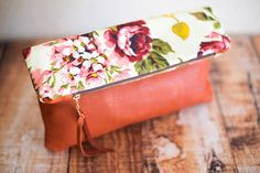 foldover clutch (vintage fabric + leather)