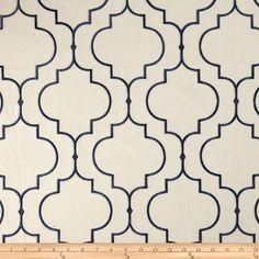 Kaslen Embroidered Helmsley Navy - Discount Designer Fabric - Fabric.com