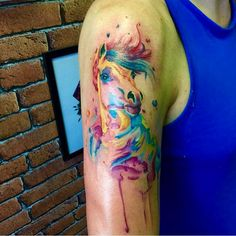 Watercolor horse tattoo @art_by_elena_shved