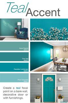 Bath Room Paint Colors Teal Accent Walls 44 Ideas For 2019 Bedroom Paint Colors, Paint Colors For Home, Bathroom Colors, House Colors, Bathroom Gray, Turquoise Bathroom, Ocean Blue Paint Colors, Teal Bedroom Walls, Turquoise Paint Colors