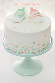 Mint, peach and gold baby shower cake. Is it a boy or girl cake??!!