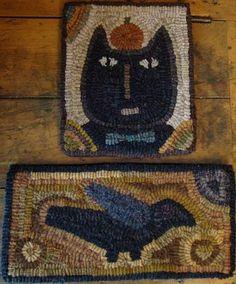 Crow hooked rug