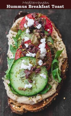 These savory breakfast toasts are super delicious and satisfying! Love all the Mediterranean favorites like hummus fresh herbs and veggies. Check out all the tips and more ideas for healthy breakfast toasts over on themediterraneand. Breakfast Toast, Savory Breakfast, Vegetarian Breakfast, Breakfast Recipes, Breakfast Ideas, Mexican Breakfast, Breakfast Sandwiches, Breakfast Pizza, Breakfast Bowls