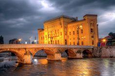 City hall, Vijecnica, in Sarajevo by night, Bosnia and Herzegovina, HDR Sarajevo Bosnia, Famous Places, Bosnia And Herzegovina, Hdr, Travel Photos, Fine Art America, Mansions, House Styles, City