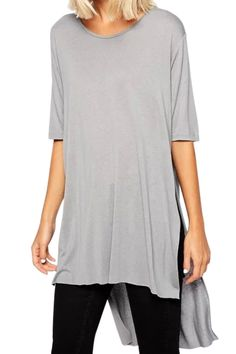 long slouchy gray tee
