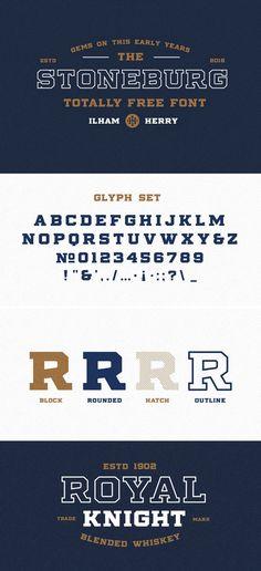 Stoneburg Free Typography Fonts, Chalk Typography, Free Typeface, Vintage Typography, Typography Letters, Vintage Logos, Vintage Graphic, Hand Lettering, Graphic Design Fonts