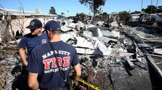 Four homes at Napa Valley Mobile Home Park in Napa were destroyed by a fire triggered by the 6.0-magnitude earthquake that struck early Sunday. Two other homes were badly charred by the fire, while many were knocked off their foundations by the temblor.
