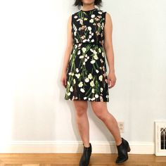 Black English Floral Satin Dress. $35 A review of Victoria Beckham for Target.