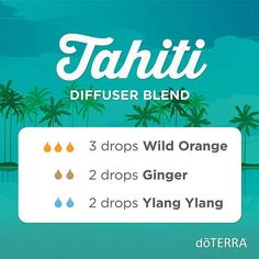 If you like floral diffuser blends, this one is for you. Breathe in and travel to Tahiti with the heady scents of Ylang Ylang, Wild Orange, and Ginger. #doterradiffuserrecipes #doterra #essentialoils #ylangylang