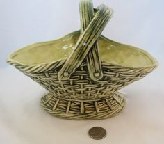 Vintage McCoy green and yellow basket by McCoypotterylovers, $54.00