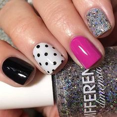 Accent nails are a really good way to enliven your routine manicure. Accent nails are astoundingly popular because they can really make your nails pop. Simple Nail Designs, Beautiful Nail Designs, Nail Art Designs, Nails Design, Multicolored Nails, Colourful Nails, Colorful, Silver Glitter Nails, Black Glitter