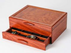 Mike Fisher - Heartwood Creations - Bubinga & Kewazingo 1 Drawer Jewelry Box Dimensions of the one drawer model are: 12 long, 9 deep and 4 ½ high. We are actually showing the Bubinga and bird's eye ma Woodworking Tutorials, Woodworking Box, Wooden Jewelry Boxes, Wooden Rings, Wooden Box Designs, Jewelry Box Plans, Wood Boxes, Keepsake Boxes, Jewelry Branding