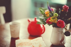 Flowers and tea.