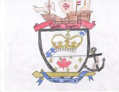 """By Kristan Heverin. """"I decided to use an old war crest as the inspiration for the United Kingdom flag, as they were popularly used by nobles to showcase the family name. The crest is divided in half, with the royal crown as the superior symbol representing the royal family and their dominance. Below is the Canadian maple leaf with fleur de lis in the background representing the French influence in Canada."""" (Click-through to read more.)"""