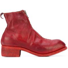 Guidi zip front boots (€1.320) ❤ liked on Polyvore featuring shoes, boots, red, leather shoes, genuine leather boots, horse boots, leather footwear and red leather boots