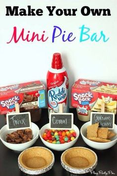 Make your own mini pie bar idea using Snack Pack pudding cups. This is cute for the kiddos. I'd probably make my own pudding and put it in nice display dishes. Snack Pack Pudding, Pudding Cups, Pudding Flavors, Drink Bar, Sleepover Party, Sleepover Snacks, Movie Night Snacks, Movie Night With Kids, Girls Slumber Parties