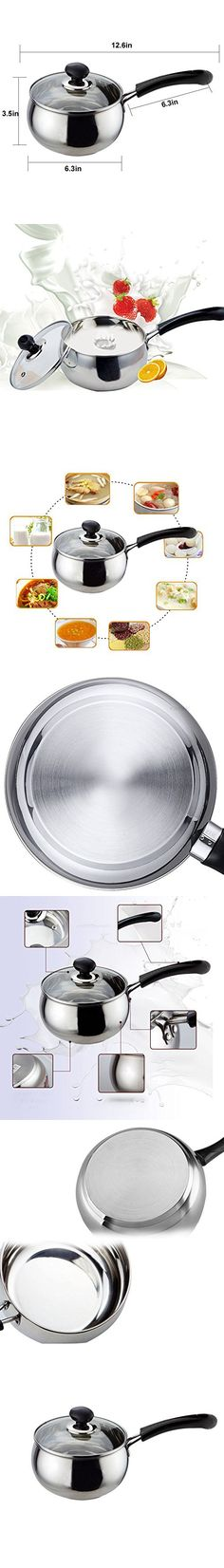 Stainless Steel Kitchen Pot Saucepan Cookware with Lid, Silver Tone, 1.5L