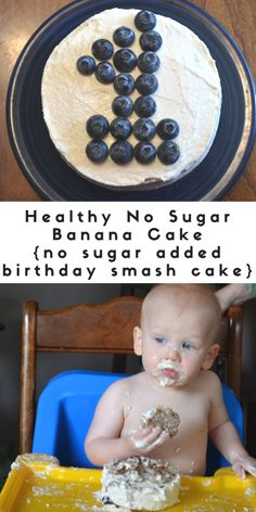 Four birthdays later and we still love this no sugar added birthday smash cake! The smash cake is a naturally sweetened banana cake, that reminds me of banana bread. The fruit juice sweetened cream cream frosting is one of my favorite parts! Brownie Desserts, Oreo Dessert, Mini Desserts, Baby First Cake, Baby Cake Smash, Baby Cakes, Smash Cake For Boys, Cake For Baby, Healthy Birthday Cakes