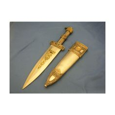 "Collectible Sharp Dagger ""SPQR"" Silver w/ Gold Eagle Head Detailing... ❤ liked on Polyvore featuring weapons and pjo"