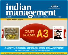 ASB Coimbatore ranked A3 by Business Standard in their Best B-School Survey 2015.