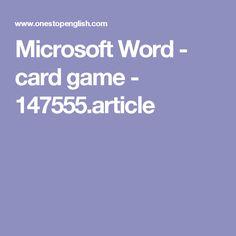 Microsoft Word - card game - 147555.article