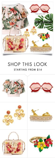 """Relaxing vacation 🌈🍍"" by anduu19 ❤ liked on Polyvore featuring Philosophy di Lorenzo Serafini, Lizzie Fortunato, Gucci, Dolce&Gabbana and Betsey Johnson"