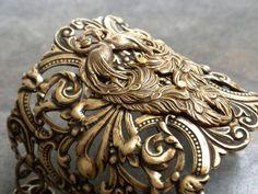 Statement Cuff Bracelet Peacock Jewelry by Serrelynda on Etsy