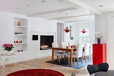 designer wohnung-mit kamin-esszimmer roter-rundteppich einbau regale