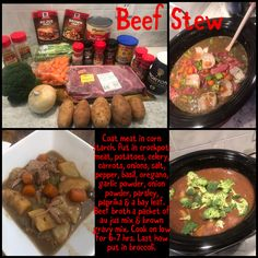 Coat meat in corn starch. Put in crockpot: meat, potatoes, celery, carrots, onions, salt, pepper, basil, oregano, garlic powder, onion powder, parsley, paprika & a bay leaf. Beef broth a packet of au jus mix & brown gravy mix. Cook on low for 6-7 hrs. Last how put in broccoli. Crockpot Meat, Crockpot Recipes, Au Jus Gravy, Brown Gravy Mix, Beef Broth, Corn Starch, Garlic Powder, Parsley, Onions