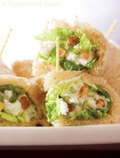 Paneer, Walnut and Celery Rolls  Ingredients 1 tsp low fat butter 1/2 cup crumbled low fat paneer (cottage cheese) salt and to taste ...