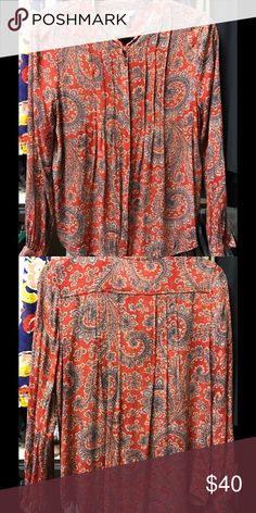 Lucky Brand blouse Gorgeous res and blue paisley print, worn twice, EXCELLENT condition! Lucky Brand Tops Blouses