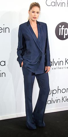 The Best and Boldest Looks from the Cannes Red Carpet! | DOUTZEN KROES | trading her sexy gown for a baggy navy Calvin Klein Collection suit at the Euphoria Calvin Klein Women in Film party.