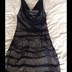 Express sparkle dress Express  black and silver sparkle dress.  Size 8. Only worn once. Express Dresses Midi