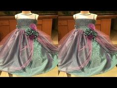DIY Designer Net Baby Frock Cutting And Stitching Full Tutorial Little Girl Pageant Dresses, Gowns For Girls, Frocks For Girls, Baby Dresses, Girls Frock Design, Kids Frocks Design, Baby Frocks Designs, Baby Frock Pattern, Frock Patterns
