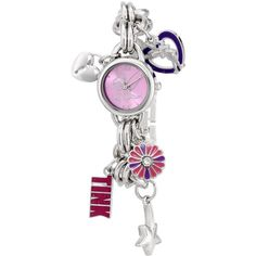 Disney Tinkerbell Pink Sunray Dial Charm Bracelet Watch (33 CAD) ❤ liked on Polyvore featuring jewelry, watches, pink bracelet, pink heart bracelet, pink rhinestone bracelet, disney watches and dial watches