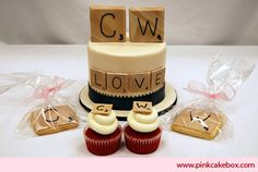 Scrabble Themed Cupcakes by Pink Cake Box