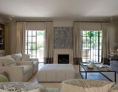 Two Tone Curtains, Transitional, living room, Marco Meneguzzi Two Tone Curtains, Door Curtains, High Curtains, Wall Drapes, Grey Curtains, Beige Wall Colors, Neutral Colors, Double French Doors, French Windows