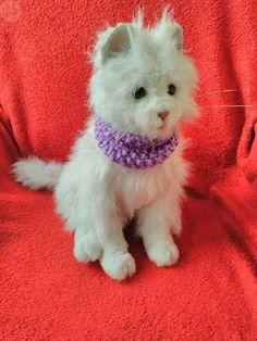 Artículos similares a Bufanda perro o gato lila en punto de arroz 770fb7395fc