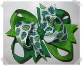 Petite Triple Loop Grosgrain Hair Bow in Shades of Green