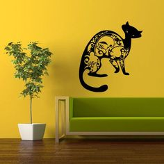 Wall Vinyl Decal Sticker Bedroom Decal Cat Tribal z318