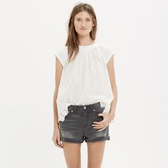 "Our denim shorts are made to fit just right—not too baggy, not too tight. Plus, they hit at the perfect place on the thigh to ensure maximum cool-girl legginess. We love the way the artfully hand-distressed details give these grey cutoffs that perfectly worn-in look.  <ul><li>True to size, fixed waistband.</li><li>5"" inseam.</li><li>Cotton with a hint of stretch.</li><li>Machine wash.</li><li>Import.</li></ul>"
