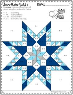 This second set of printables includes 10 math quilts with a snowflake theme. These no prep color by code worksheets focus on multiplication facts up to 12 x They make great window displays when cut out! Barn Quilt Designs, Barn Quilt Patterns, Paper Piecing Patterns, Pattern Blocks, Quilting Designs, Star Quilt Blocks, Star Quilts, Patchwork Quilting, Quilting Projects