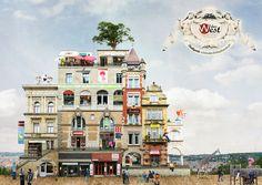 Arte y Arquitectura: collages surrealistas de arquitectura por Matthias Jung