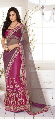 The most fabulous pink satin lehenga style saree with adorable work shop at   craftshopsindia   7c38a68101bc