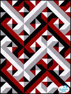 PatternJam - FREE Online Quilt Pattern Designer red black interwoven - custom quilt designed by using PatternJam quilt design software Half Square Triangle Quilts Pattern, Square Quilt, Triangle Quilt Tutorials, Modern Quilt Patterns, Quilt Block Patterns, Sewing Patterns, Crochet Quilt Pattern, Pattern Fabric, Red Pattern