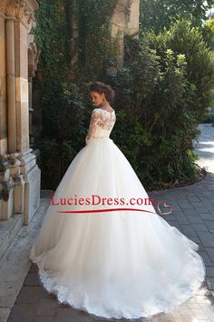 2016 3/4 Length Sleeve Bateau Wedding Dresses Tulle With Applique Court Train