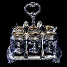 Geo IV Antique Silver Egg Cruet (1824 London) WILLIAM BENNETT (worked from 1792)