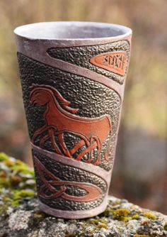 Set of four Ceramic Viking Cups and a Mug with carved by Kvalka