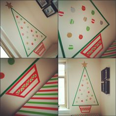 Washi tape Christmas tree - I'd like to try this on the front door!