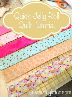 Quick Fabric Crafts Jelly Rolls - Quick Jelly Roll Tutorial Partquick jelly roll quilt or strip quilt for a child. This is a fast way to make a cute Brilliant Projects to Upcycle Leftover Fabric Scraps - AdjournaIt's Bunny Time! Quilting For Beginners, Sewing Projects For Beginners, Quilting Tips, Quilting Tutorials, Quilting Projects, Hexagon Quilting, Beginner Quilting, Quilting Patterns, Machine Quilting